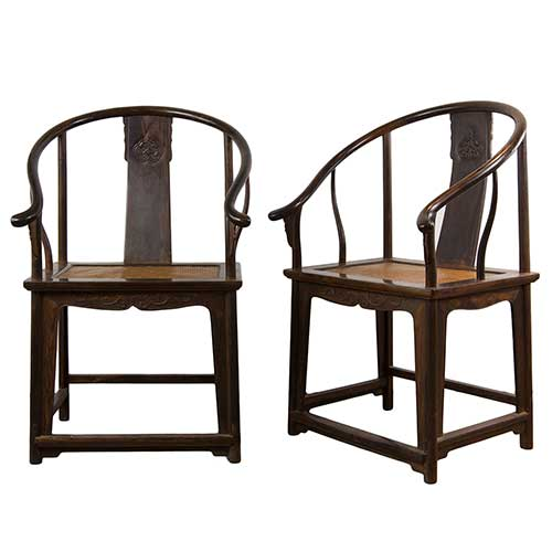 Chinese 17/18th century Zitan Horseshoe-back armchairs, Quanyi, Qing Dynasty.